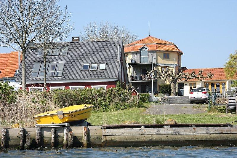 Ufergrundstück Blick zum Mühlenturm