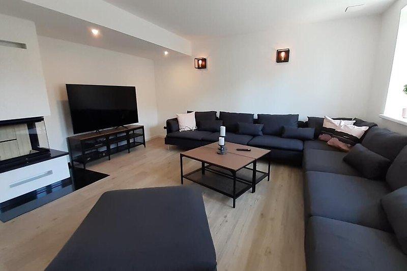 Wohnbereich mit Kamin und TV