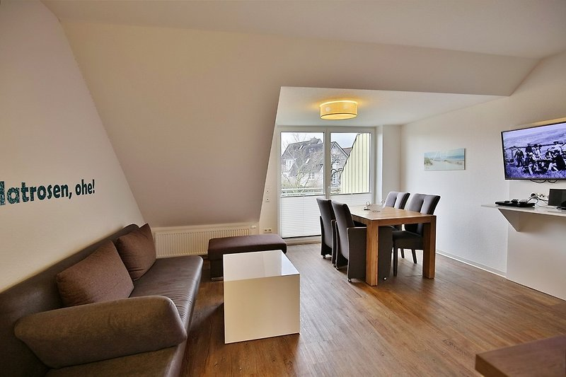 Wohnzimmer der Wohnung GS6 in Cuxhaven Duhnen