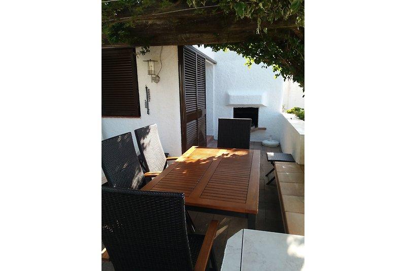Terrasse mit Kamin