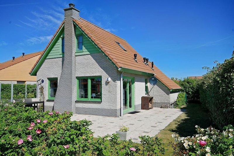 Gartenansicht mit übergroßer, windgeschützter Terrasse