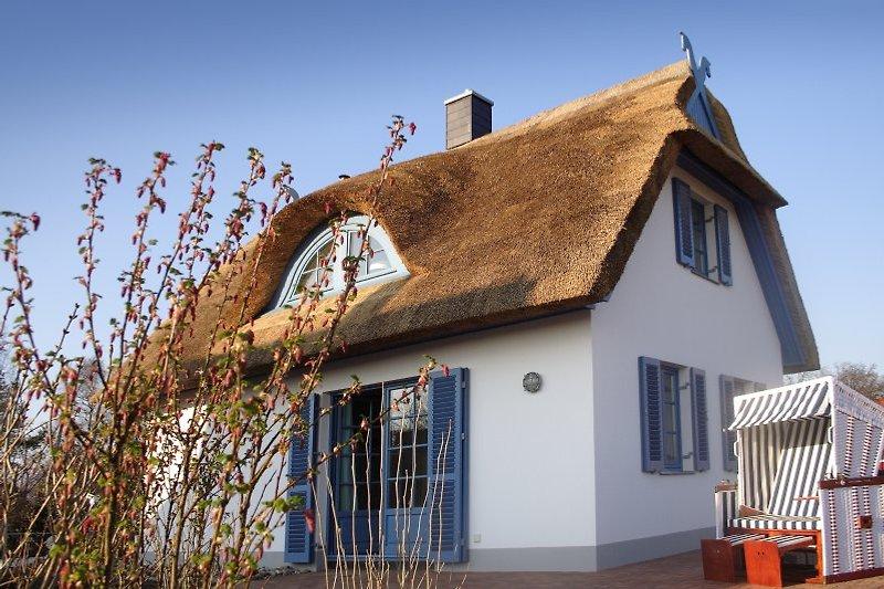 Das reetgedeckte NIxenhus befindet sich auf der Ostsee-Insel Poel in unmittelbarer Strandnähe