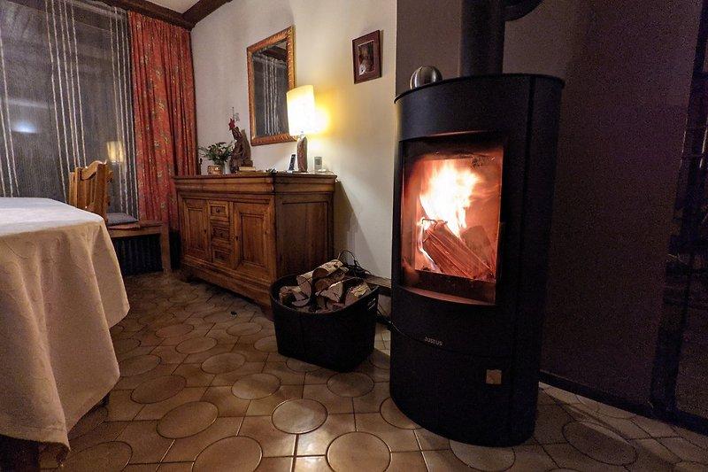 Unser Haus ist ideal auch für die kalte Jahreszeit: 2 Kamine zusätzlich zur Zentralheizung, Sauna, Billard, viel Platz im Haus