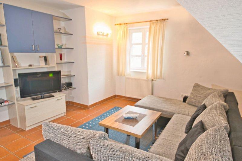 Fewo Arkonaschwalbe (A49) - Blick in das Wohnzimmer.