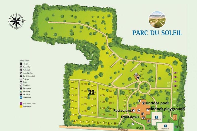 Map of Parc du Soleil and location BeachHouse 90