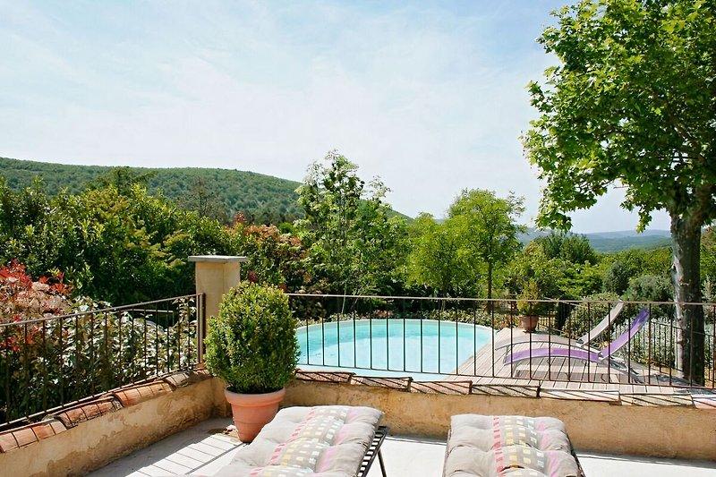 Blick von der überdachten Terrasse auf sen Pool
