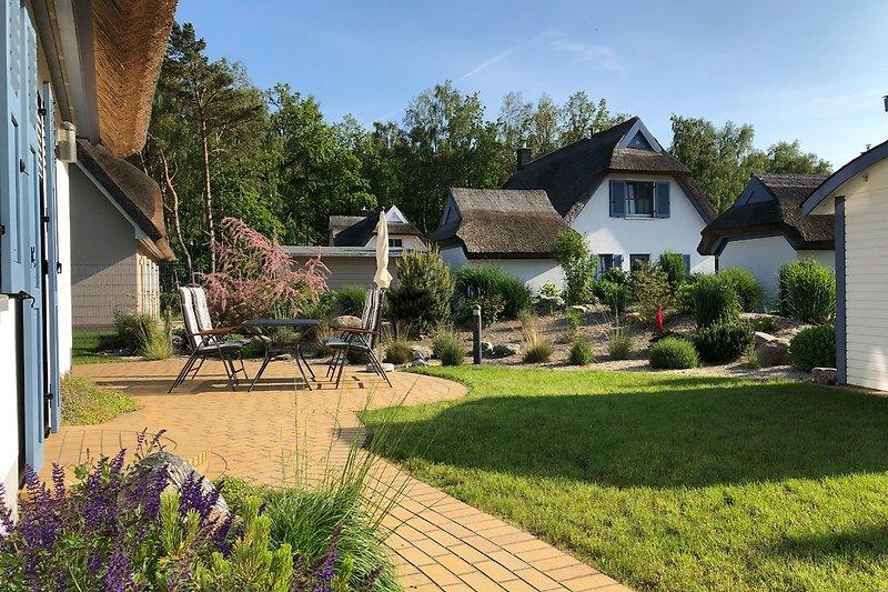 Terrasse mit Gartenmöbel und Grill