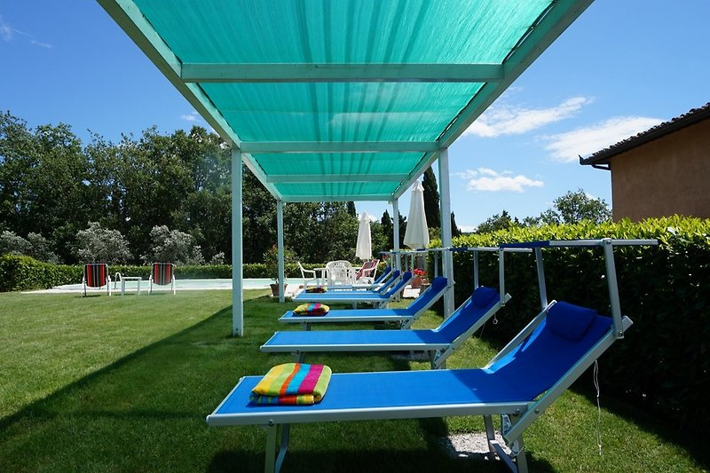 Holidayhome in Tuscany, private pool area with pergola