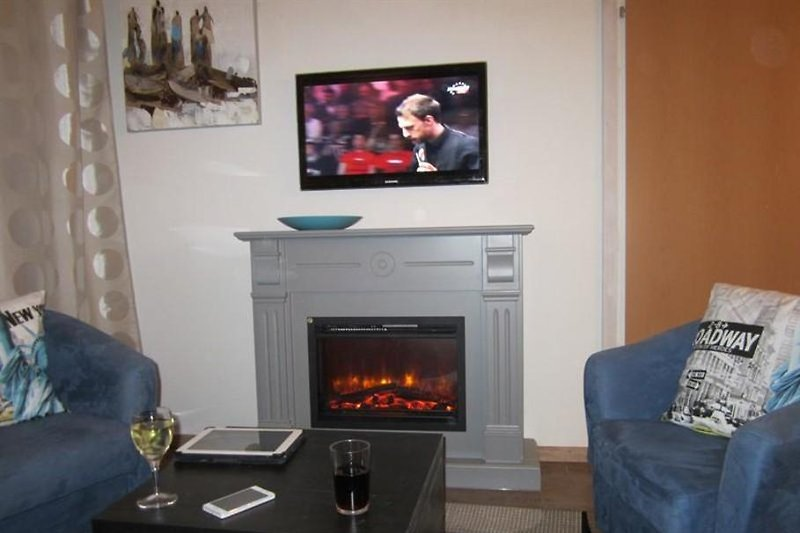 "Living room with sofa bed for 2 persons, sitting area with atmosphere ""fireplace"", flat screen TV withUSB and DVD."