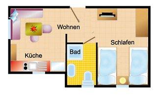Appartement mit Terrasse (Freisitz)