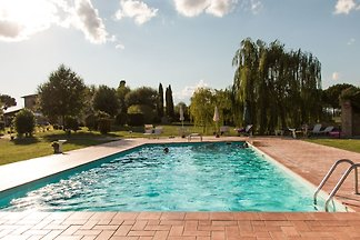 Charming Farmhouse in the heart of Tuscany. Lovely garden with private pool, ideal for families. Panoramic position, close by villages offering plenty of cultural attractions.