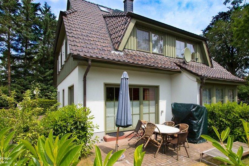 Ferienhaus Zingst: Terrasse mit Sitzmöbeln, Liege, Sonnenschirm und Strandkorb.