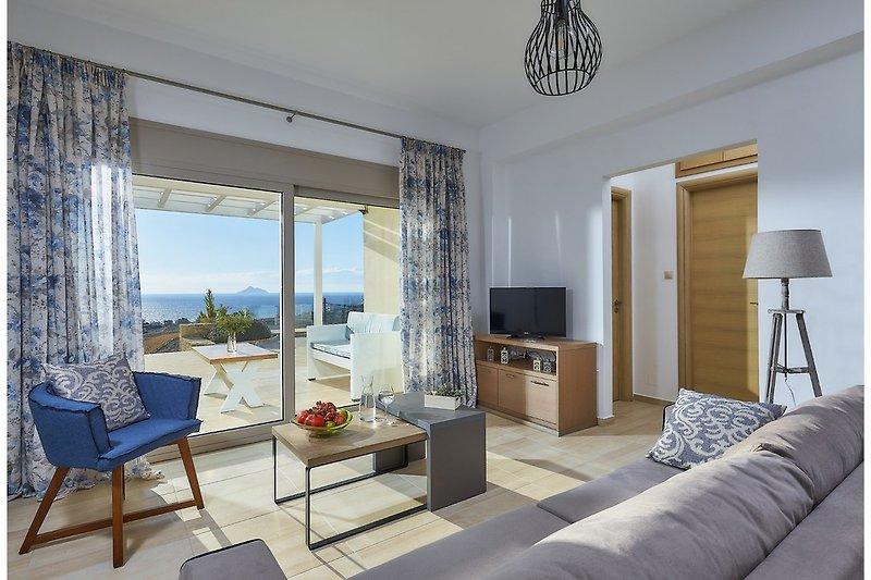 Elkysti Crete - Das Luxuriöse Wohnzimmer mit Meerblick