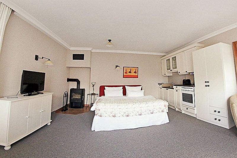TV, Kaminofen und Doppelbett im Appartement