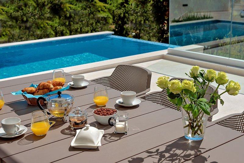 Frühstück am Pool