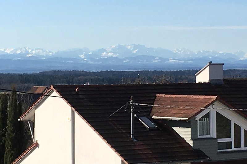 View from the balcony onto the Alps and Lake Constance