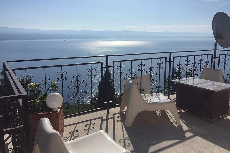 Balkon mit Panoramablick auf das Meer