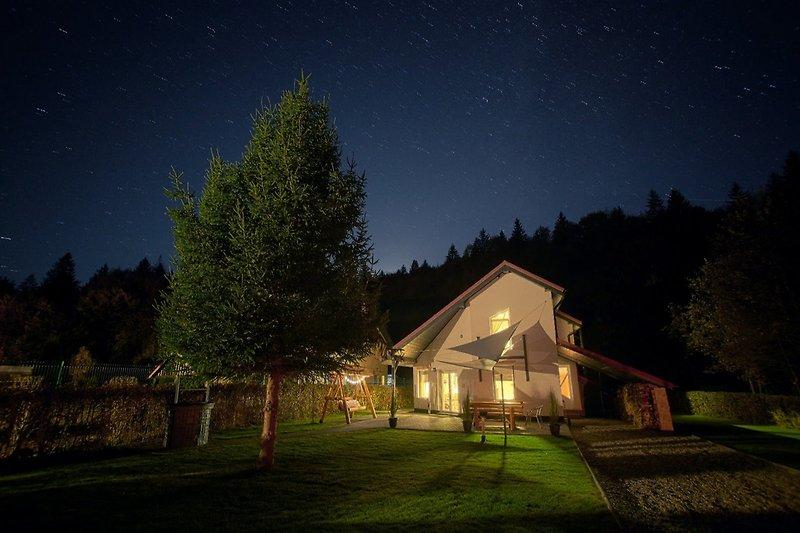 Unser Ferienhaus beim sternklaren Himmel