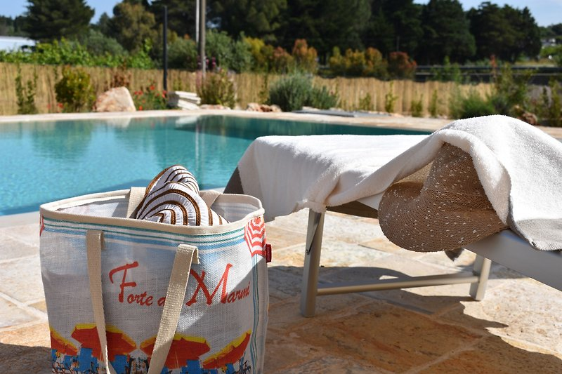 Poolside with sunloungers