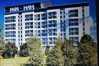 Komfortowy w pełni wyposażony apartament 50m2 ,7  salon z aneksem kuchennym, sypialnia, łazienka balcony, garaż. Budynek przylega do parking, oddalony or plaży in promenady 1km