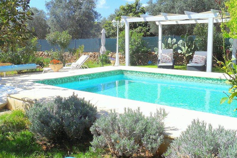 Pool mit Terrassen und Gazebo