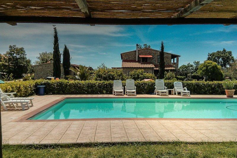 Das Haus il Vecchio Casale mit seinem Pool