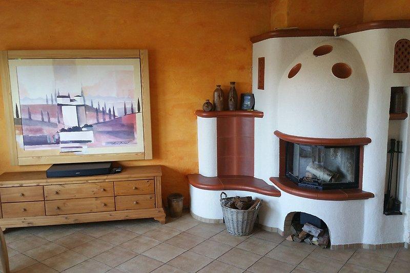 Wohnzimmer TV hinter dem Bild