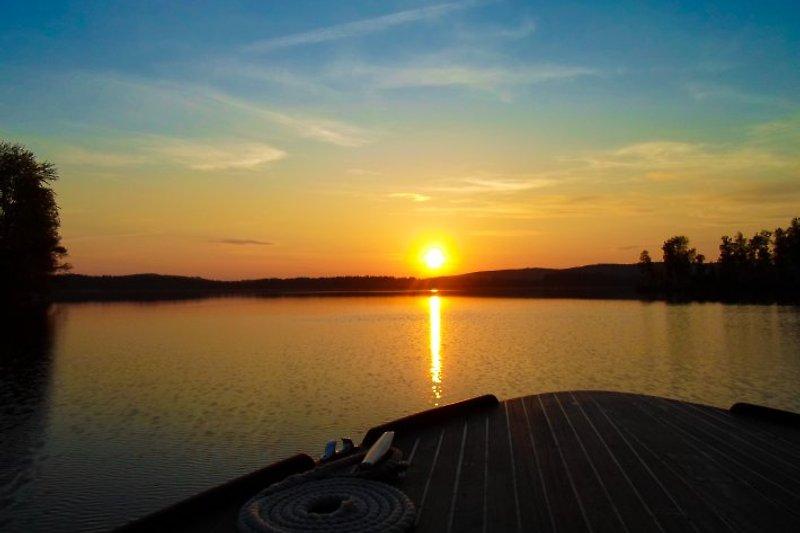 Sonnenuntergang über dem See Bunn am Ferienhaus