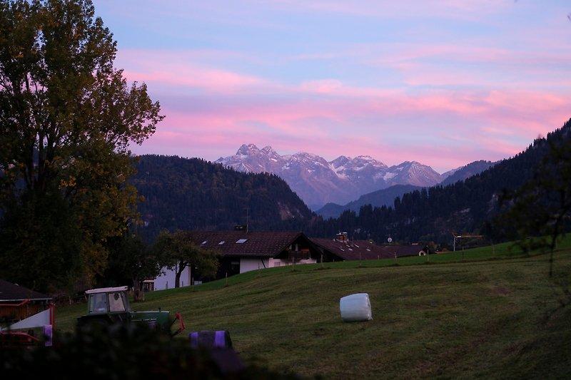 Alpenglühen auf der Terrasse