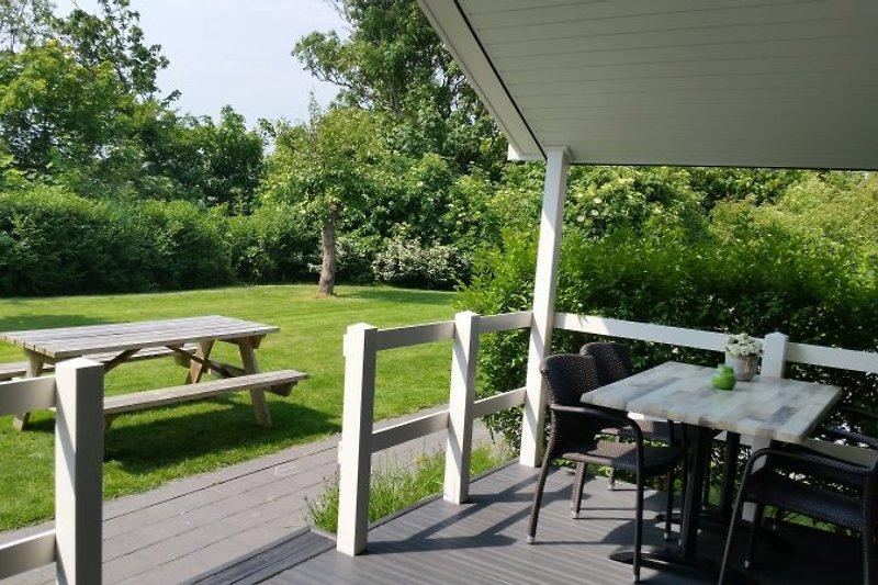überdachter Terrasse und blick im Garten
