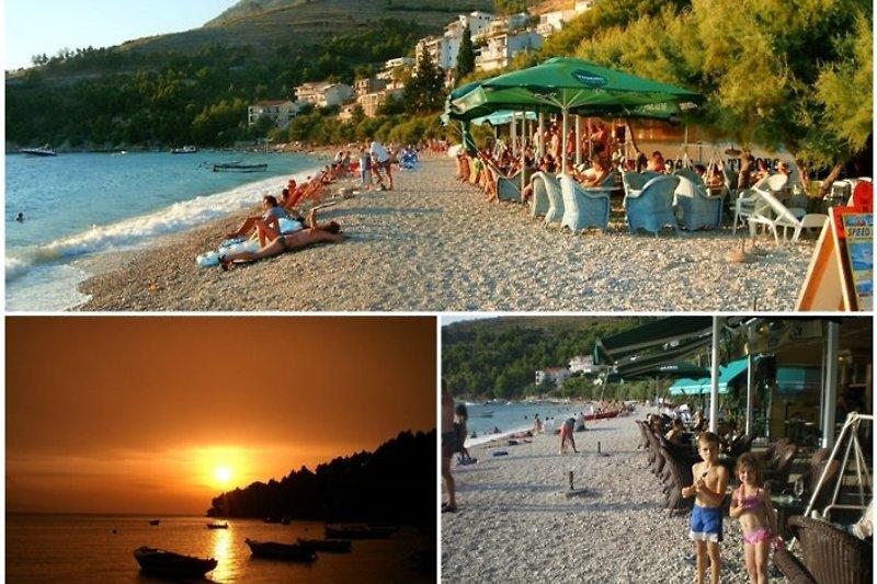 Stanici mit Sonnenuntergang und Strand Restaurant