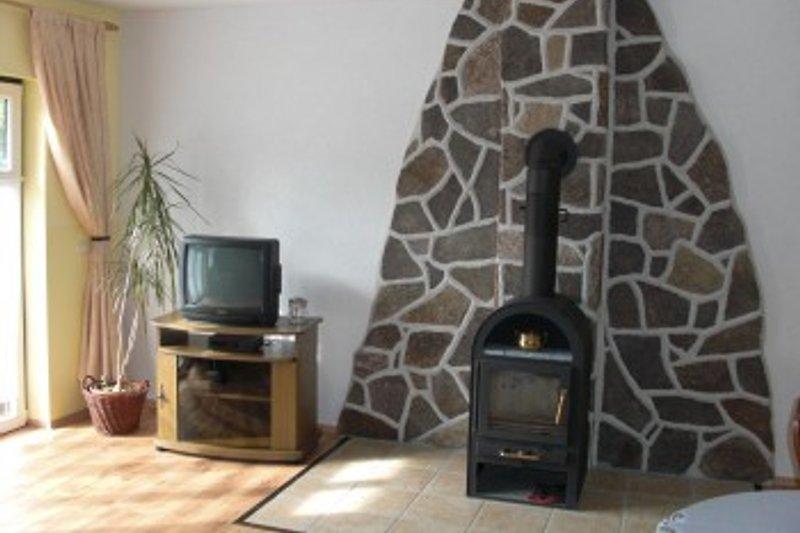 Wohnzimmer mit Kamin,