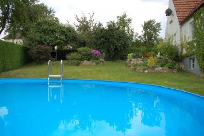 Pool und im Hintergrund Ferienhaus mit Terrasse