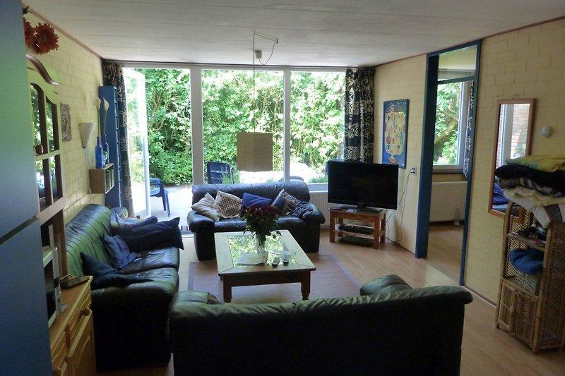Blick ins Wohnzimmer und die Terasse