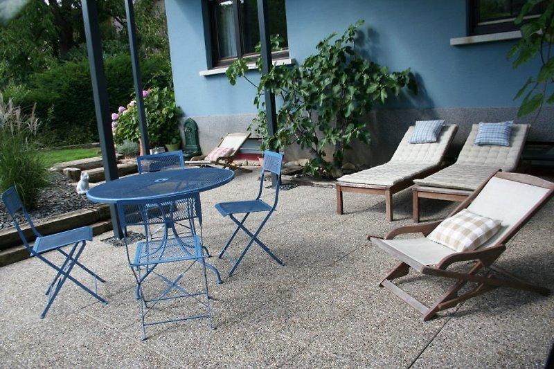 Terrasse Südseite, Blick auf Reben und Garten.