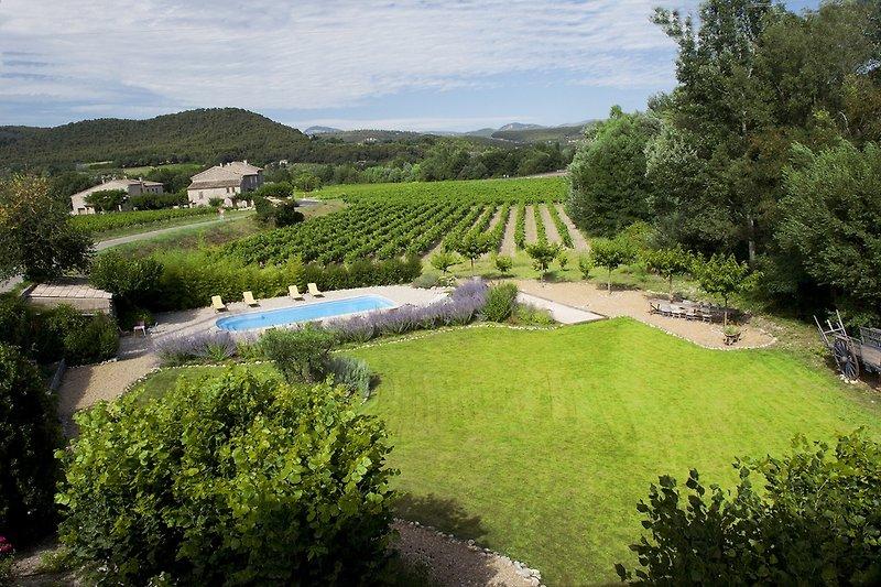 Ausblick über Garten und Pool
