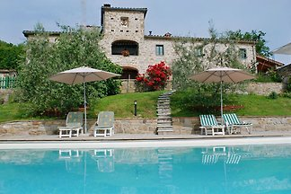 Charming Tuscan villa with private pool,  breathtaking view and wide fenced garden.