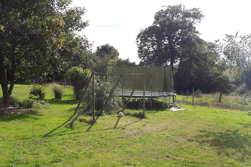 Trampolin und Fußballtor im Garten