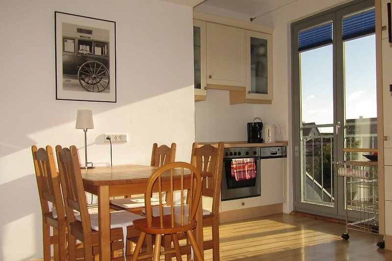 View of Kitchenette and window towards the garden