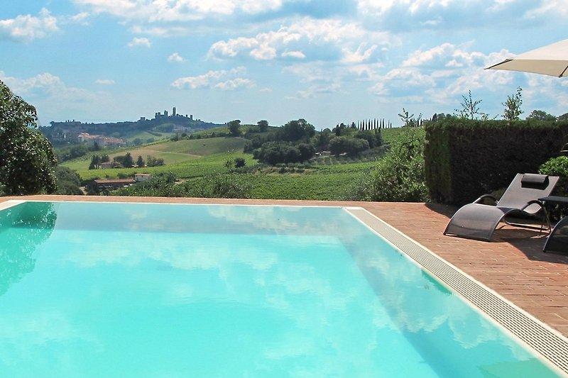 Privater Pool mit Blick auf San Gimignano