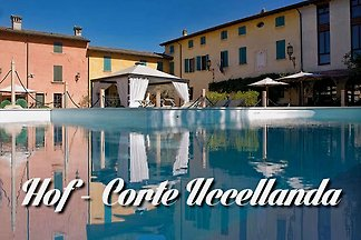 FERIENHOF in Castellaro Lagusello - Monzambano circle / Peschiera del Garda with pool. Buffet breakfast, private parking, TV, Internet WiFi, air conditioning, spa, sauna.