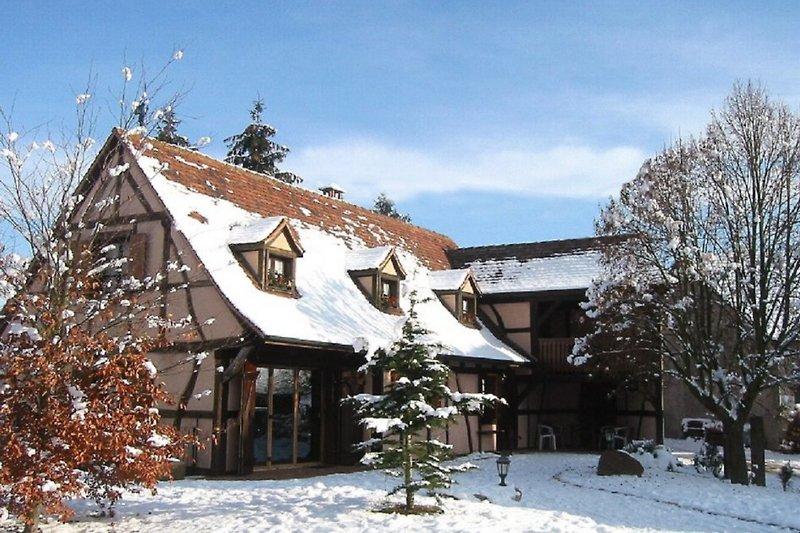 Elsässichees Fachwerkhaus im Schnee