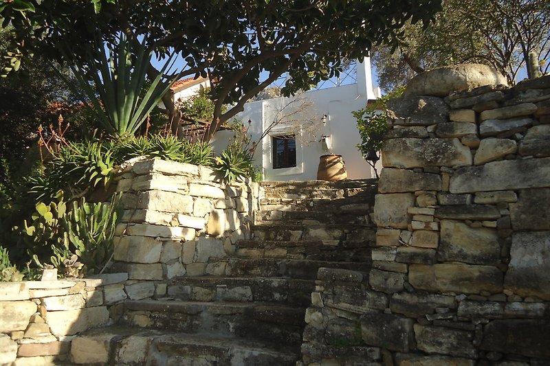 Natursteintreppe zum Landhaus