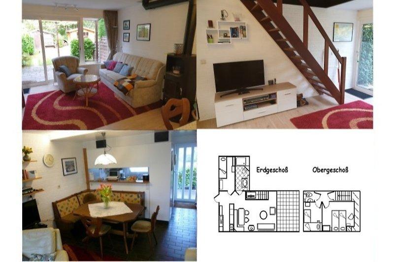 Wohnraum mit gemütlich moderner Couch Kombination, Kamin, TV und toller Essecke