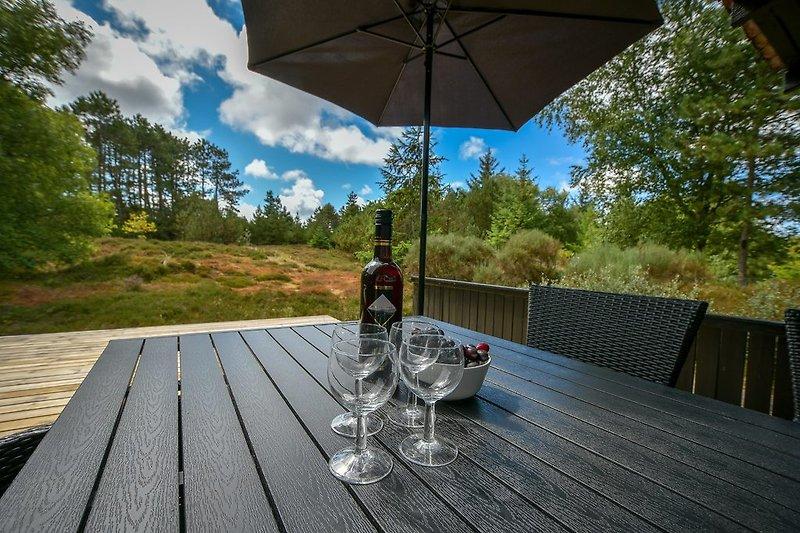 Toller Blick auf das Naturgrundstück von der Terrasse