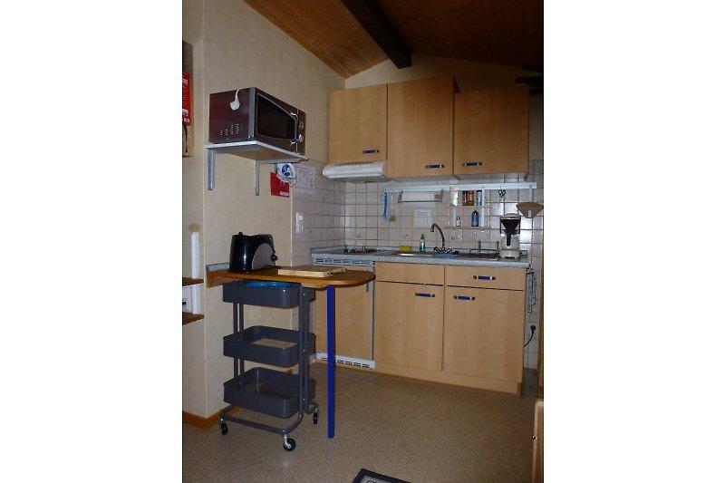 Mini Küche in der Walnuss Hütte
