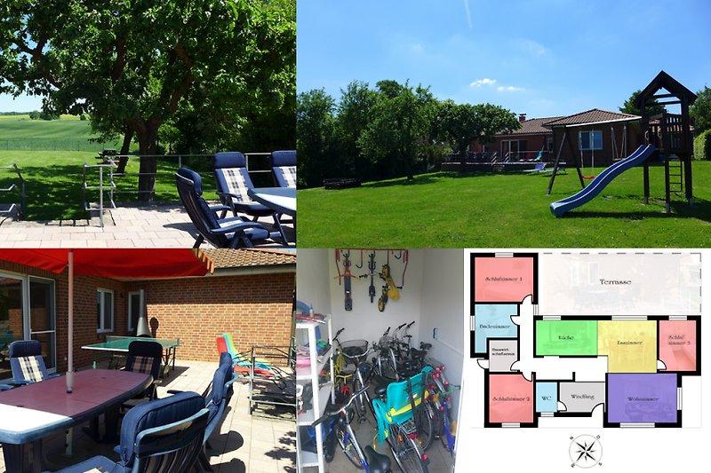 Blick von der Terrasse auf den eingezäunten Garten, Gartenmöbel & Grillkamin, Spielturm, Fahrräder & Kinderfahrzeuge, Grundriss