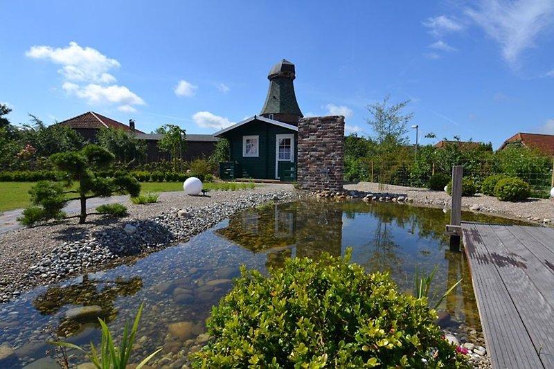Blick über den Teich auf die Neßmersieler Mühle!