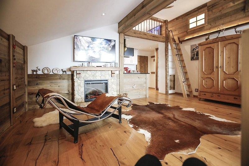Wohnzimmer mit Hüttenflair