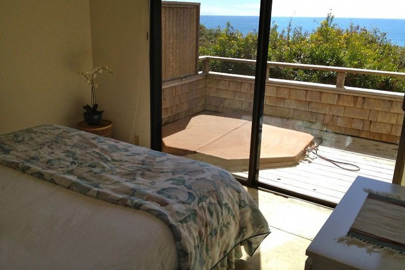 Bella Vista, from King bed of master bedroom; private deck with hot tub in front
